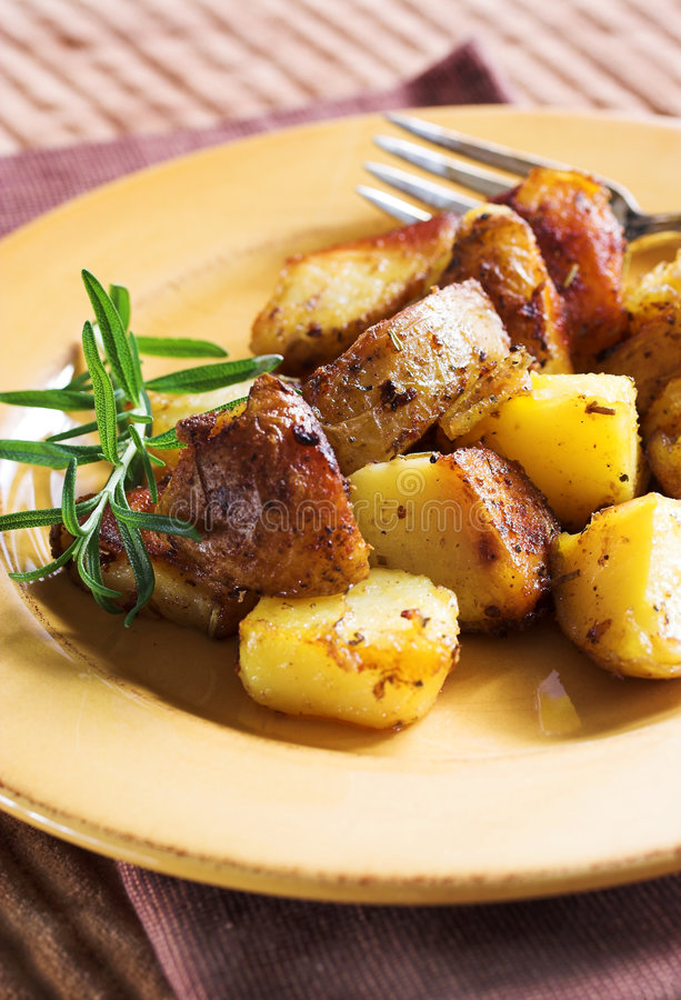 Download Potatoes roasted stock image. Image of shine, herb, rosemary - 1706929