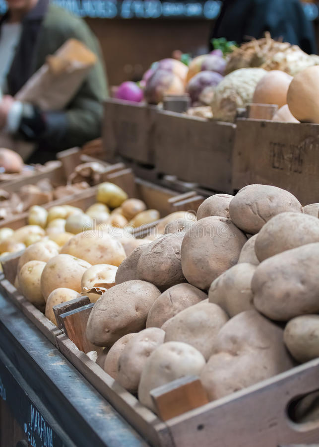 Potatoes For Sale At Market Stall royalty free stock photo