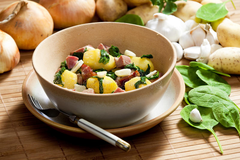Potatoes with smoked meat royalty free stock image