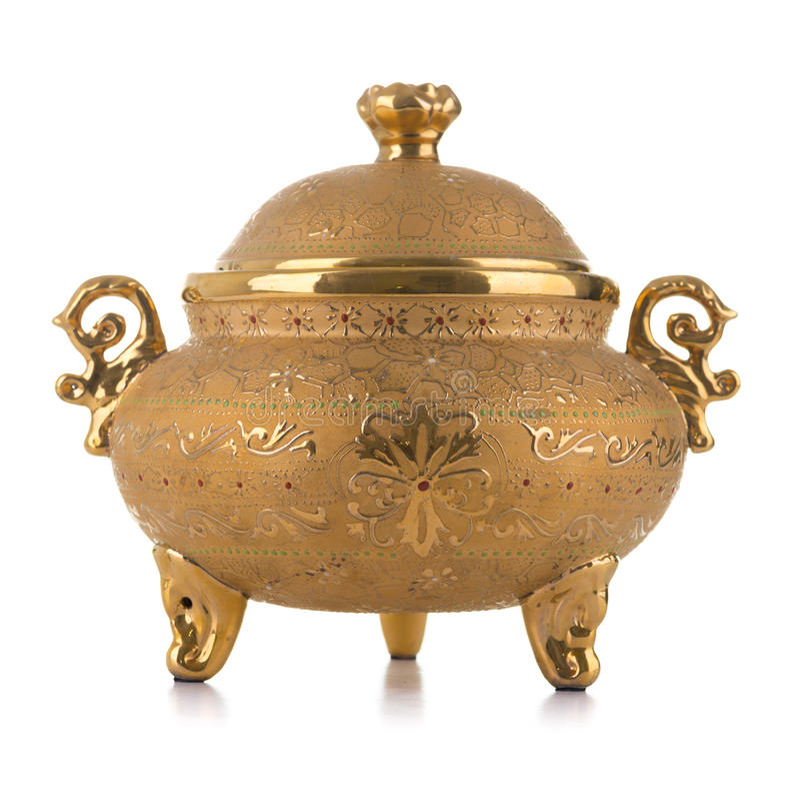 Pote antiguo de oro de la porcelana fotos de archivo