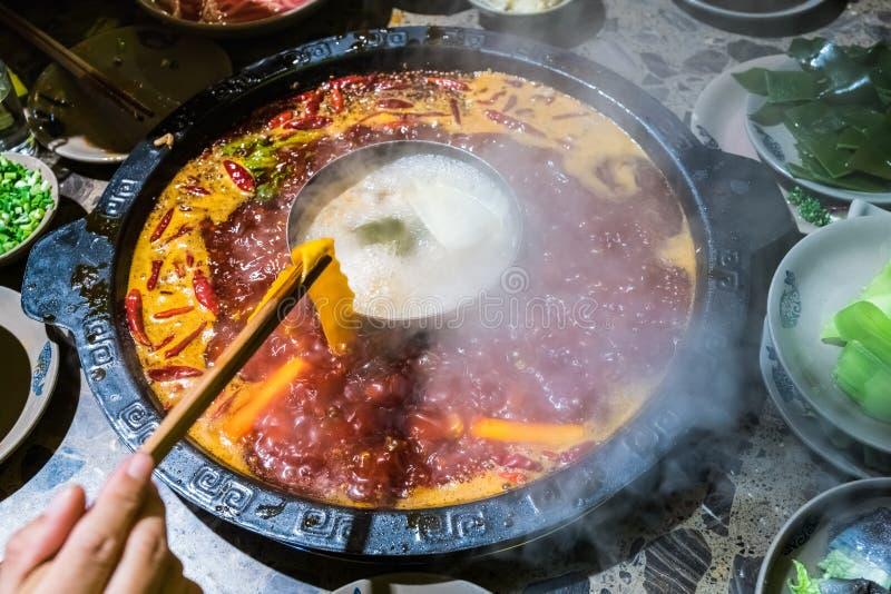 Pote caliente de Chengdu, plato de frotamiento de Sichuan imágenes de archivo libres de regalías