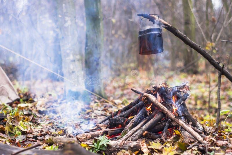 pote de agua hirvienda calentado en el fuego en el campo imagen de archivo libre de regalías
