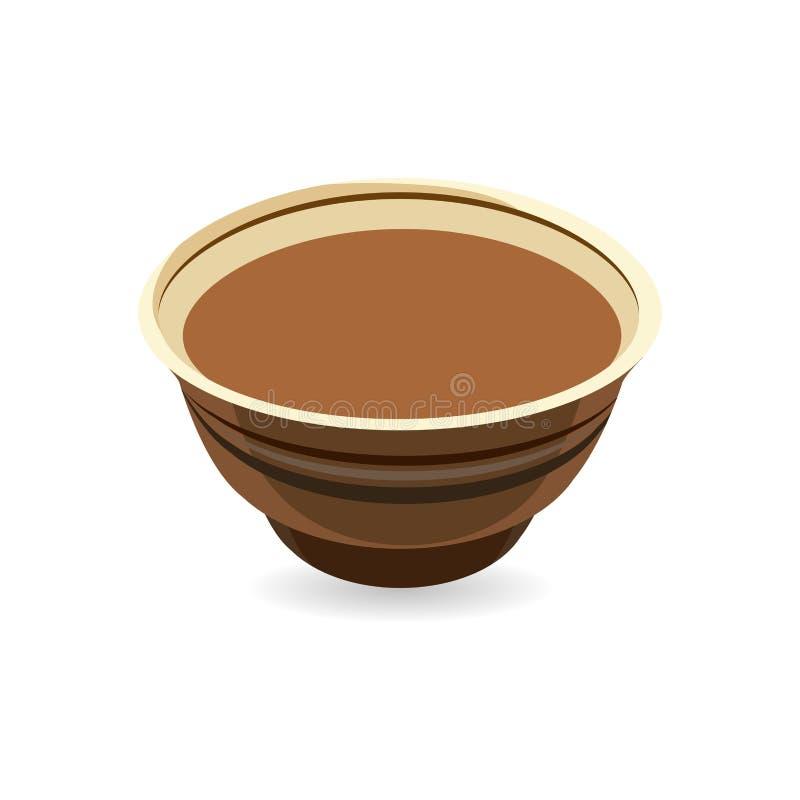 Pote de arcilla realista del vector, ideal europeo tradicional de la cerámica para la comida que cuece ilustración del vector