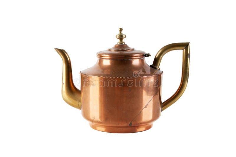 Pote de cobre amarillo de cobre del té del vintage foto de archivo libre de regalías