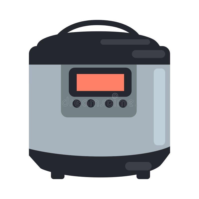 Pote de cocinar lento del cántaro aislado en blanco vapor stock de ilustración