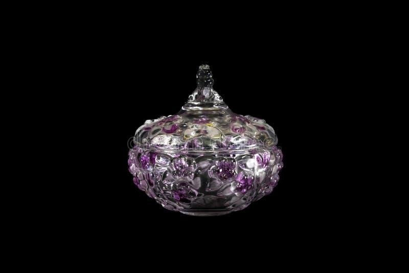 Pote de cristal cristalino floral hermoso/obra estrella blancos del diseño, rosados, amarillos fotografía de archivo libre de regalías