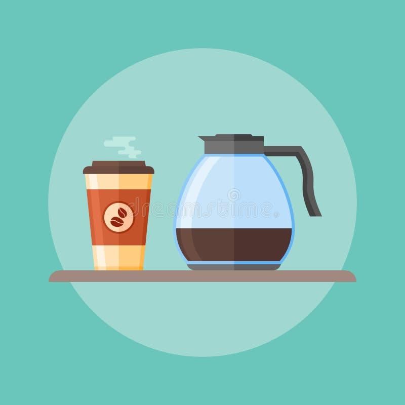Pote de cristal del café y taza de café disponible ilustración del vector