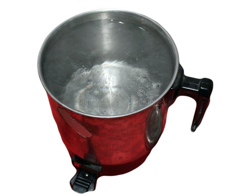 Pote de ebullición con la ebullición del agua aislada foto de archivo libre de regalías