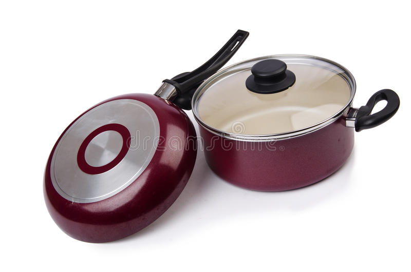 Pote de la cacerola de los utensilios de la cocina imagen de archivo libre de regalías