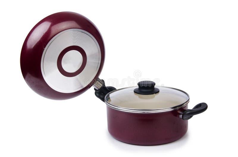 Pote de la cacerola de los utensilios de la cocina foto de archivo