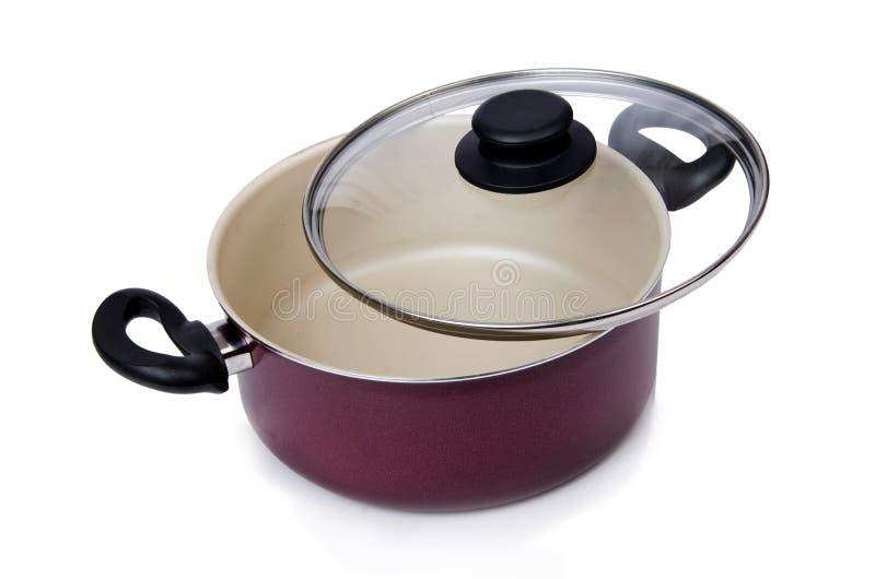 Pote de la cacerola de los utensilios de la cocina aislado imagen de archivo libre de regalías