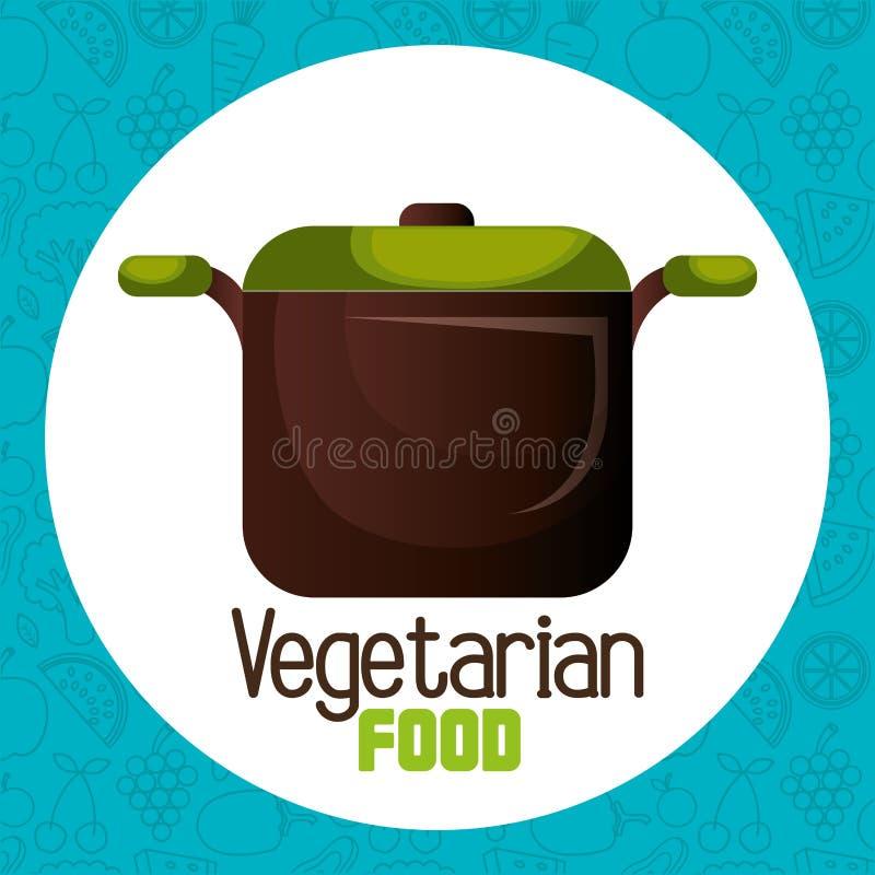 Pote de la cocina con la comida vegetariana stock de ilustración