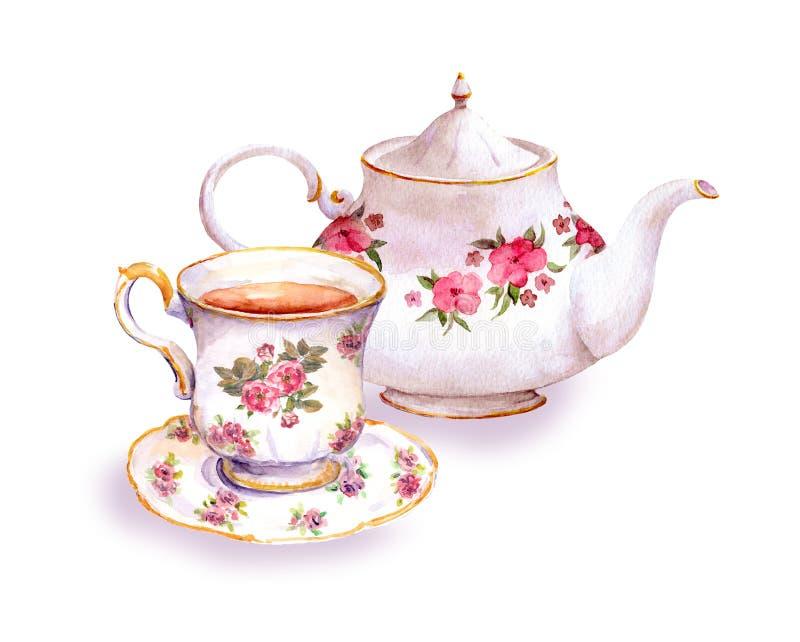 Pote de la taza de té y del té con las flores watercolor fotografía de archivo
