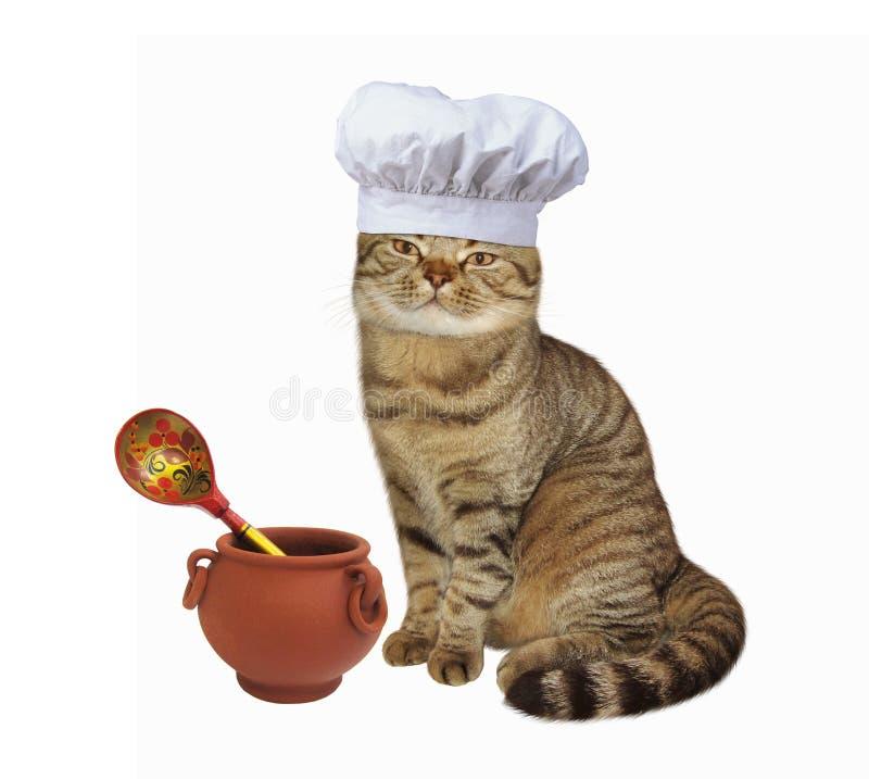 Pote del cocinero del gato fotografía de archivo