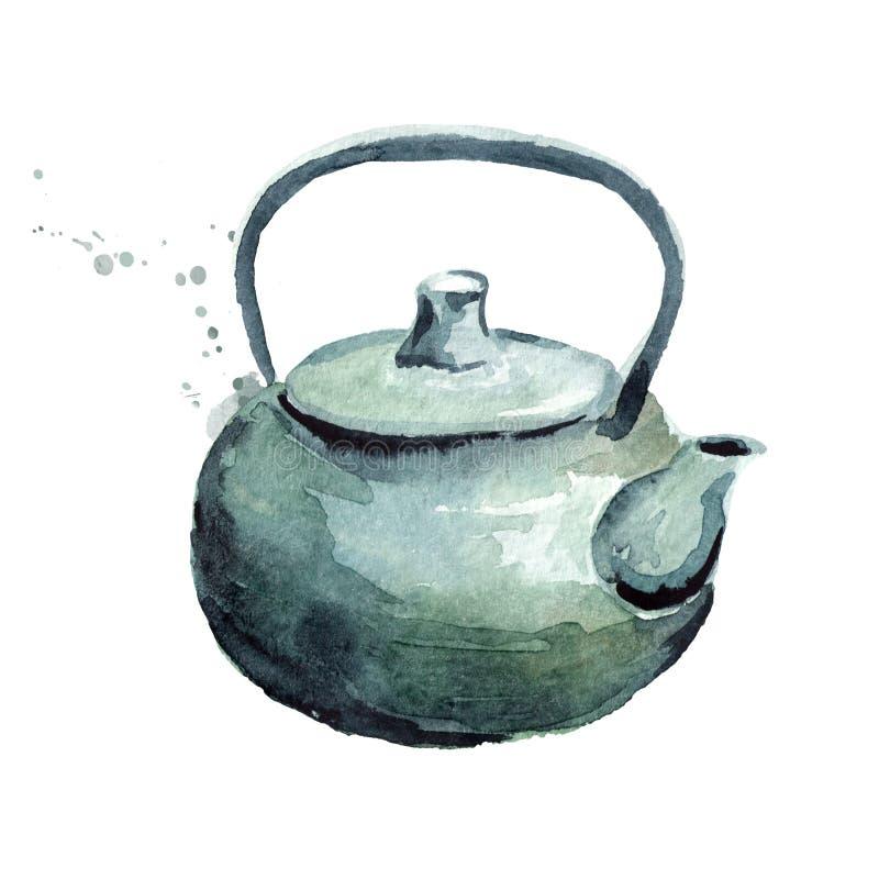 POTE DEL TÉ Ejemplo dibujado mano de la acuarela, aislado en el fondo blanco libre illustration