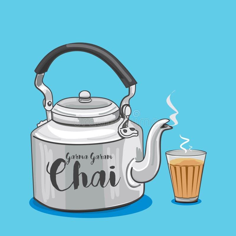 Pote del té o ejemplo tradicional indio del vector de la caldera libre illustration