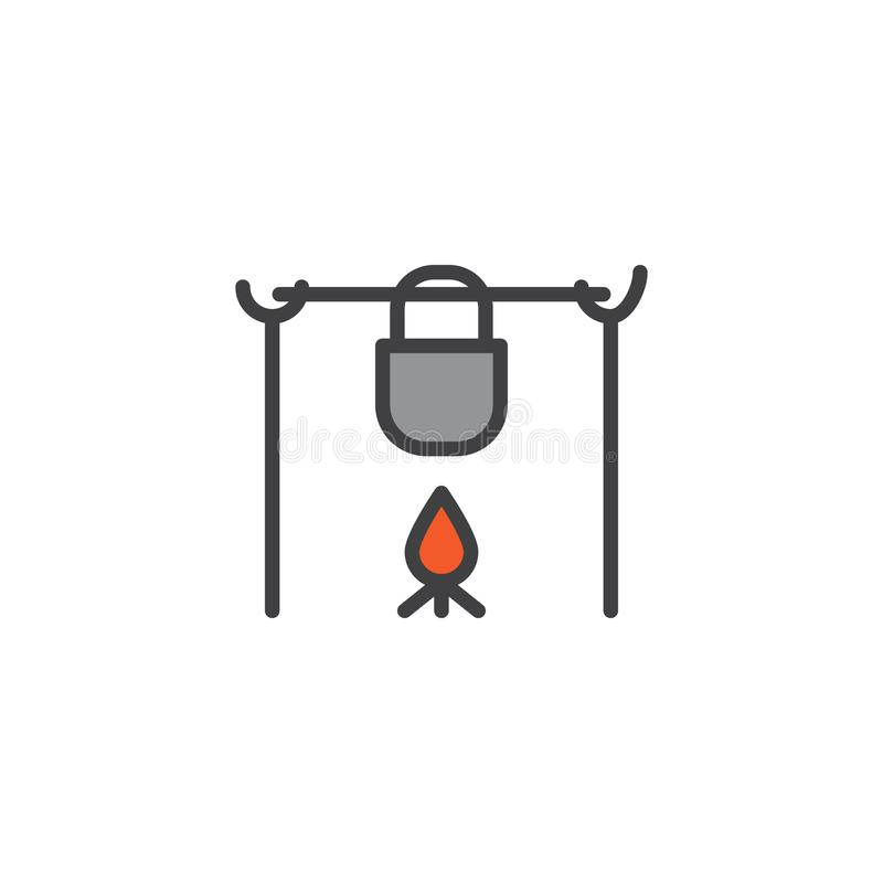 Pote en el fuego en icono llenado del esquema que acampa libre illustration