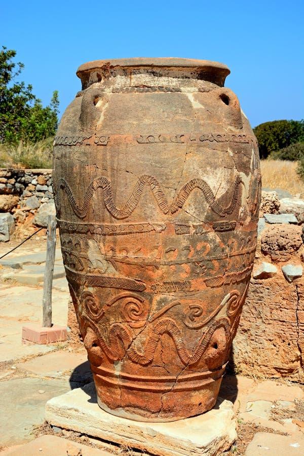 Pote grande de la terracota de Minoan, Malia fotografía de archivo