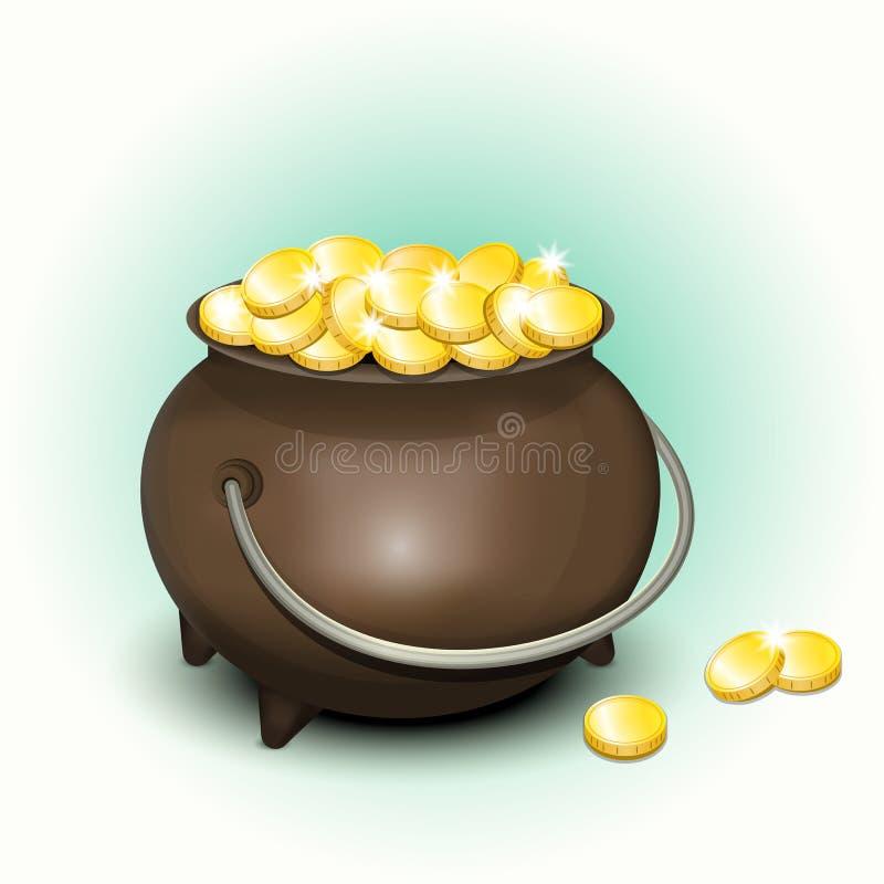 Pote mágico con las monedas de oro para el día de Patricks stock de ilustración
