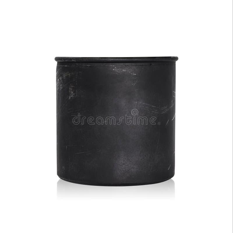 Pote negro de la planta aislado en el fondo blanco Maceta en blanco para el diseño Trayectoria de recortes fotografía de archivo