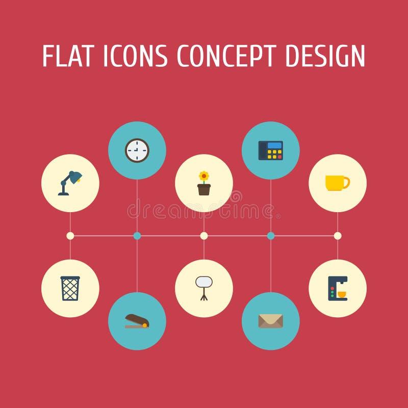 Pote plano de la planta de los iconos, Puncher, té y otros elementos del vector El sistema de símbolos planos de los iconos de la ilustración del vector