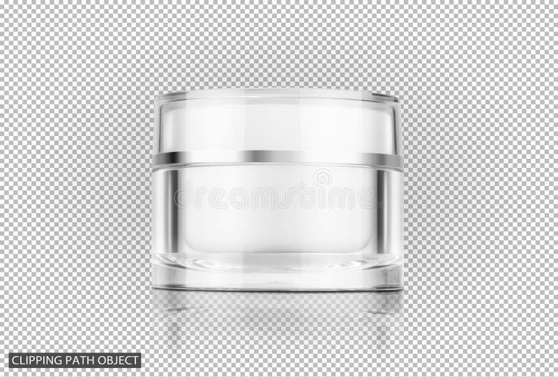 Pote poner crema cosmético claro de empaquetado en blanco imagen de archivo libre de regalías