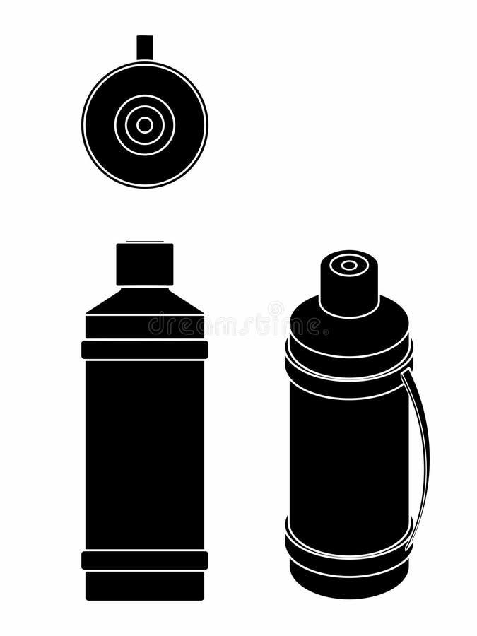 Pote termal coloreado Terraplén negro ilustración del vector