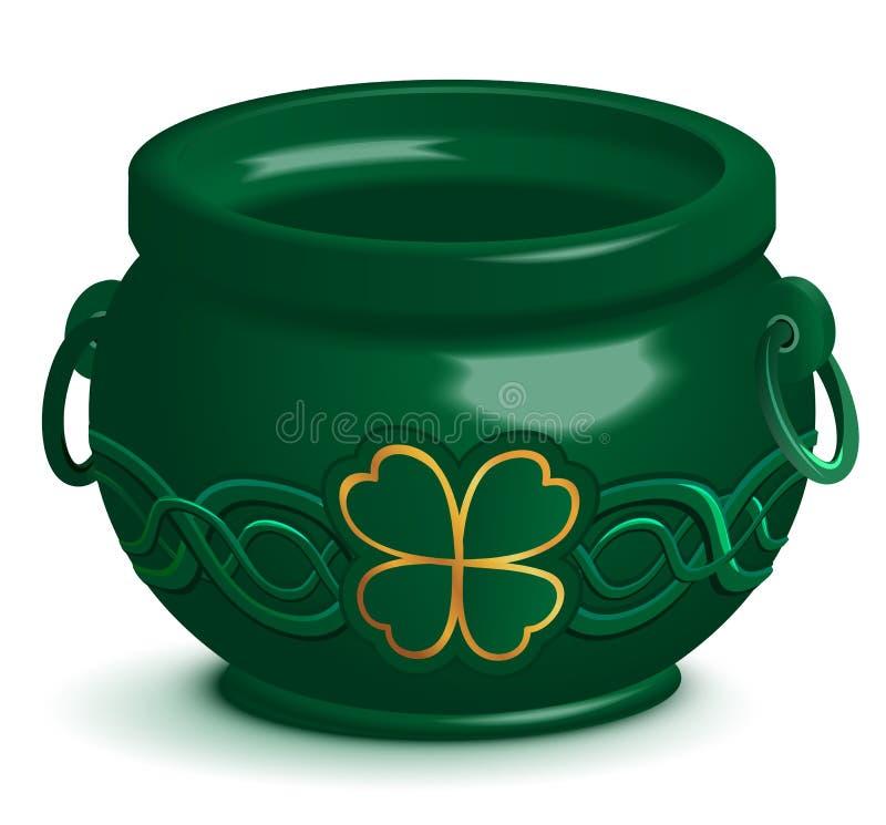 Pote vacío verde con el ornamento del trébol de la hoja Símbolo del día de St Patrick stock de ilustración
