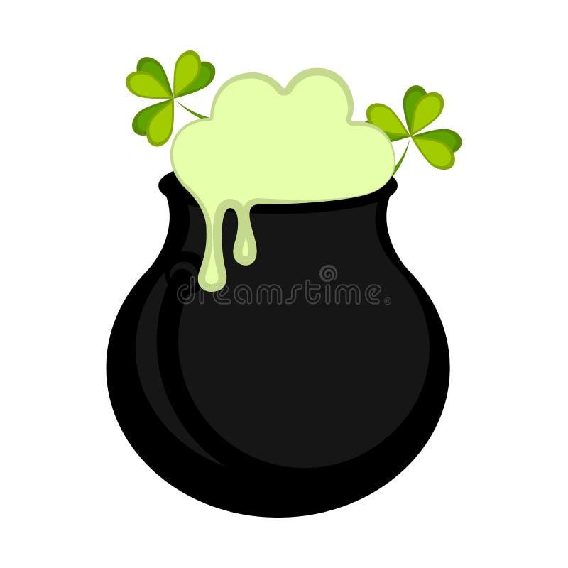Pote verde aislado de la cerveza stock de ilustración
