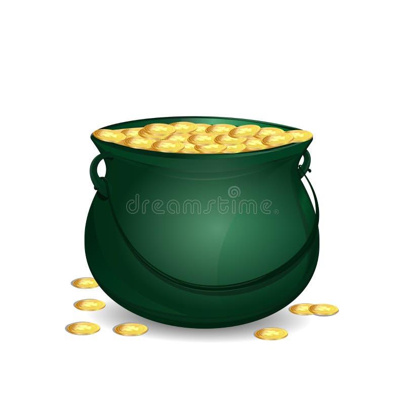 Pote verde del duende por completo de oro Tesoro del duende libre illustration
