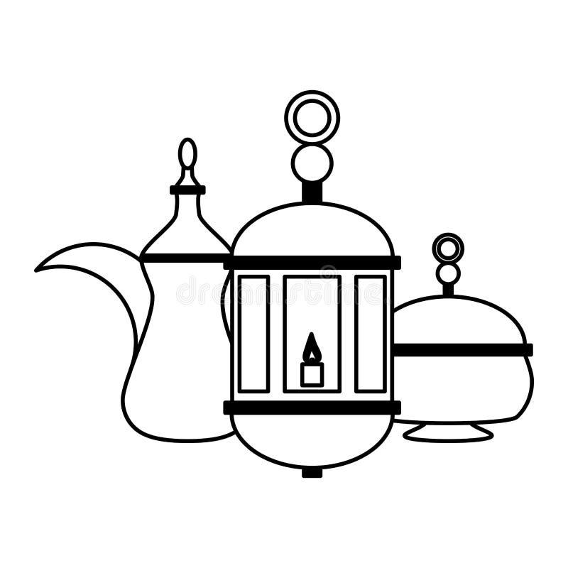 Pote y linterna indios del té stock de ilustración