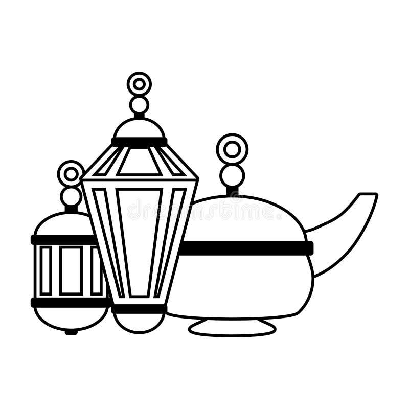 Pote y linterna indios del té libre illustration