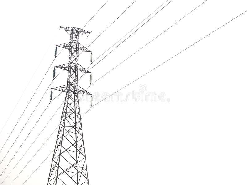 Poteau à haute tension d'isolement sur le fond blanc photo libre de droits