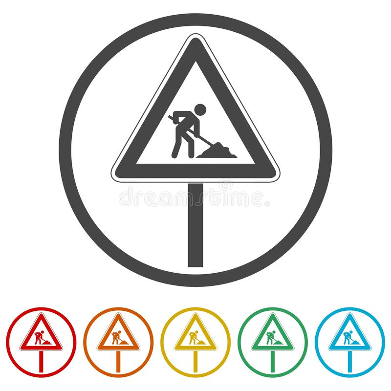 Poteau de signalisation, attention à la course sur route, 6 couleurs incluses, 6 couleurs incluses illustration stock