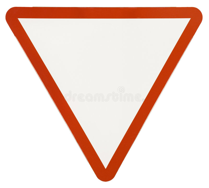 Poteau de signalisation d'avertissement de triangle image libre de droits