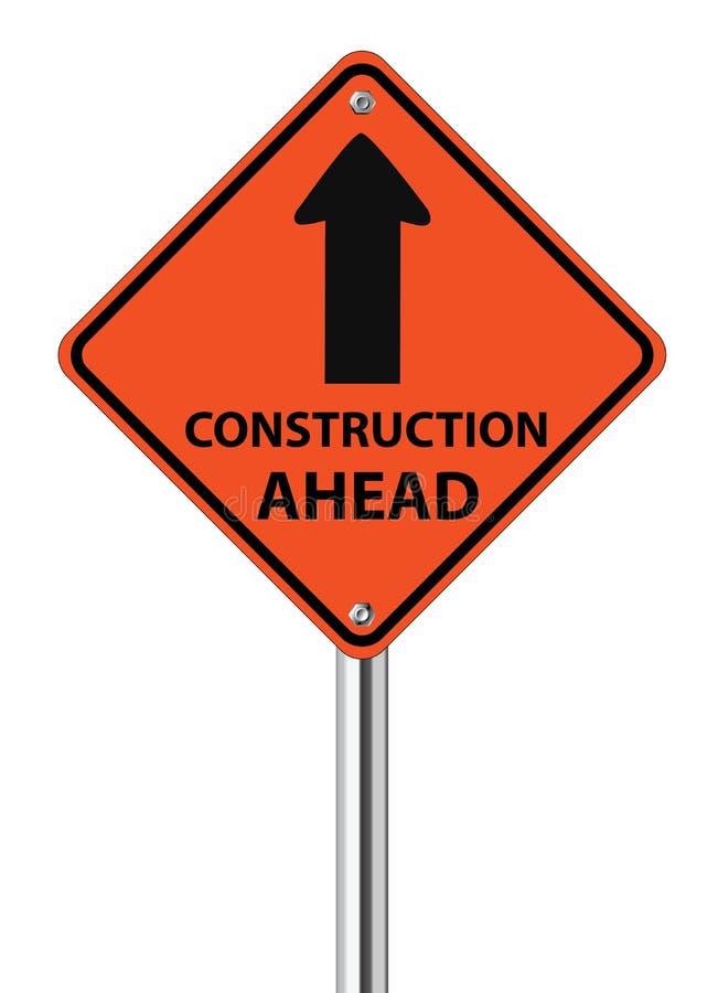 Poteau de signalisation de construction en avant illustration libre de droits