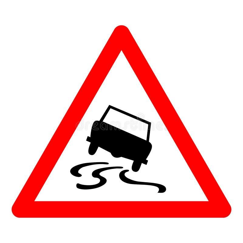 Poteau de signalisation de triangle de vecteur pour la route glissante illustration stock
