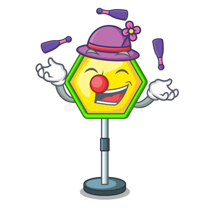 Poteau de signalisation de jonglerie d'isolement sur la mascotte illustration libre de droits