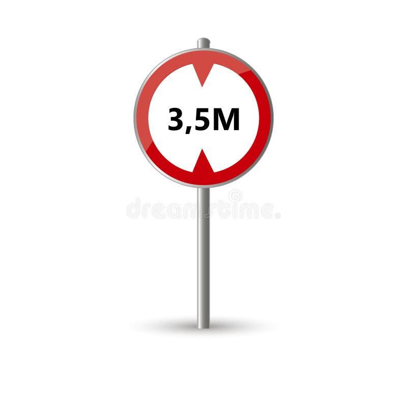 Poteau de signalisation de limite de taille illustration stock