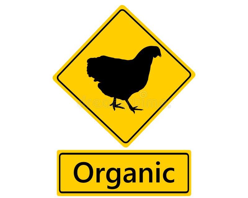 Poteau de signalisation pour la conservation organique de volaille illustration libre de droits