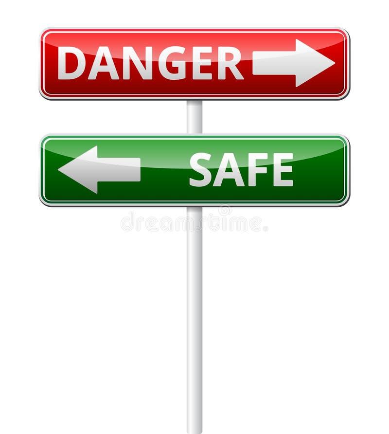 Poteau de signalisation sûr de danger avec la réflexion d'isolement sur le backg blanc illustration de vecteur