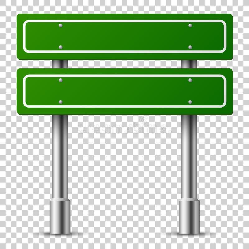 Poteau de signalisation vert Panneau des textes de panneau de route, poteau indicateur de ville de route de direction de calibre  illustration de vecteur