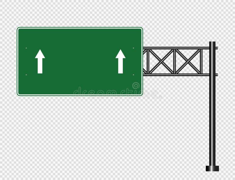Poteau de signalisation vert, signes de panneau de route d'isolement sur le fond transparent, illustration de vecteur illustration stock