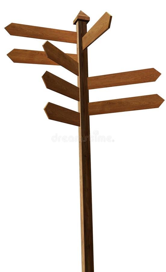 Poteau de signe blanc en bois illustration de vecteur