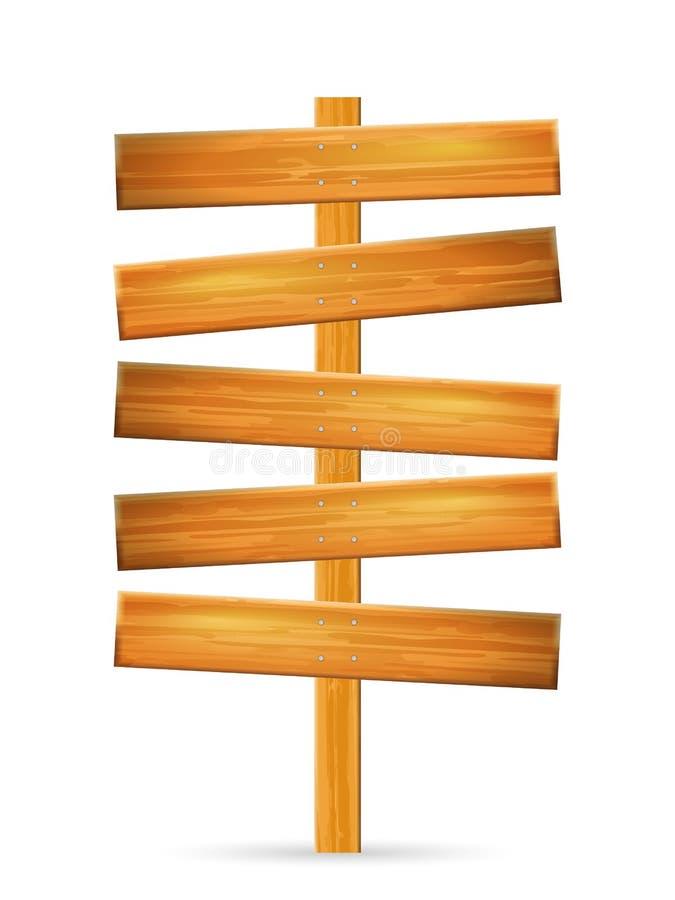 Poteau de signe en bois illustration de vecteur