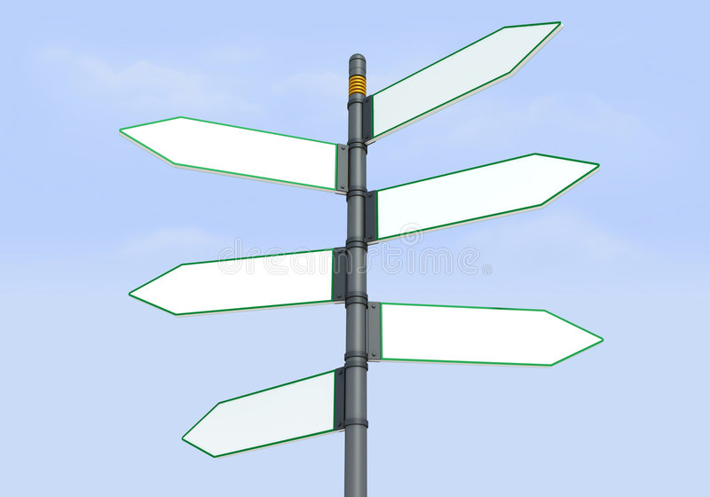 Poteau de signe six directionnel illustration de vecteur