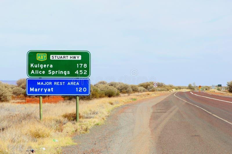 Poteau indicateur à Kulgera et à Alice Springs, Australie photographie stock