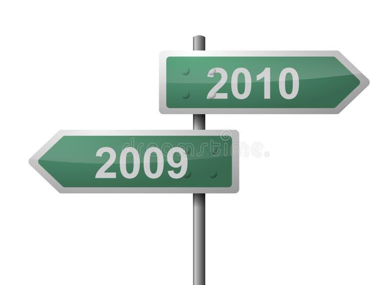 poteau indicateur 2009 2010 illustration de vecteur