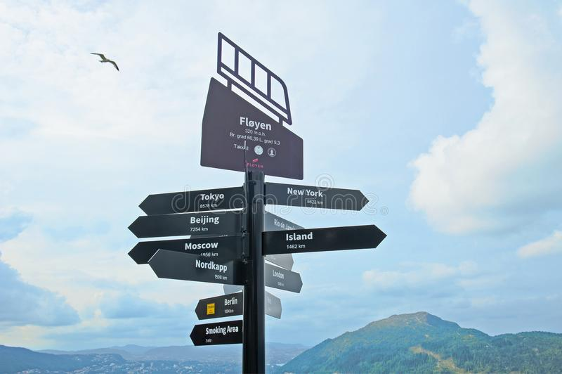 Poteau indicateur avec la distance de ville sur le bâti Floyen à Bergen photographie stock libre de droits