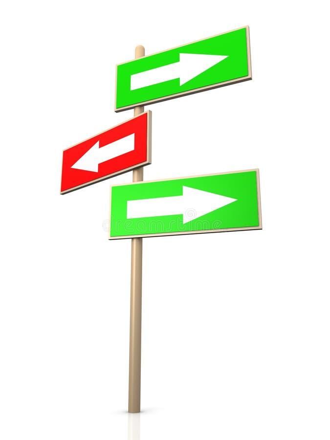 Poteau indicateur - bonne voie illustration libre de droits